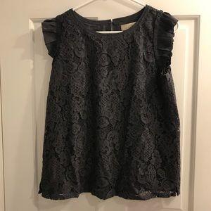 NWT LOFT lace grey sleeveless shirt
